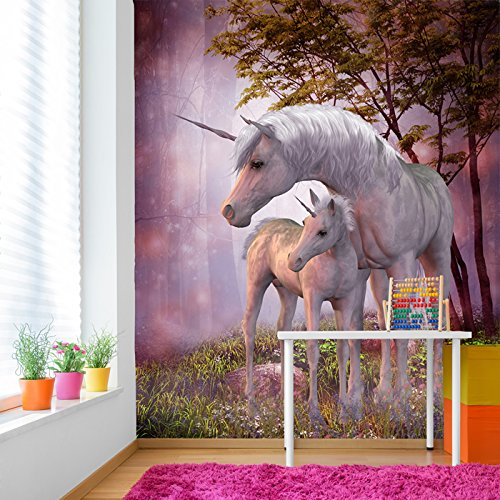 Mural Unicorn Wall - Magical Unicorn & Foal In Forest Fantasy Wall Mural Kids Photo Wallpaper available in 8 Sizes Gigantic Digital