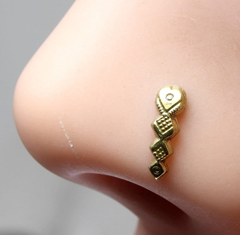 Karizma Jewels Indian Nose Stud corkscrew piercing ring l bend Antique gold finish nose ring