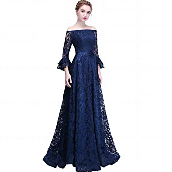 301c866e507 YT-ER Navy Blue Strapless Flared 3 4 Sleeve Dress Banquet Long Evening Dress