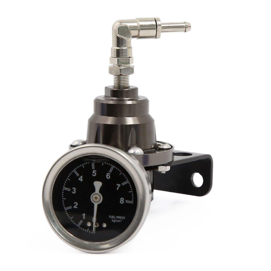 sourcing map Tono di titanio in lega di alluminio regolabile nel regolatore di pressione carburante manometro olio Kit