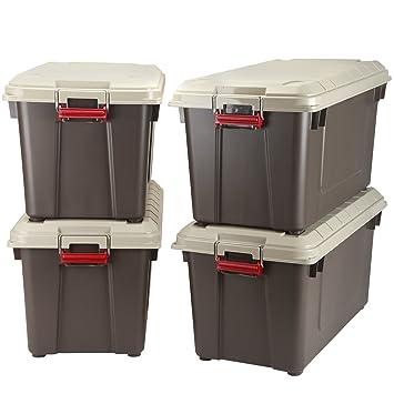 IRIS 82 Quart Weathertight Store It All Tote, 4 Pack, Brown