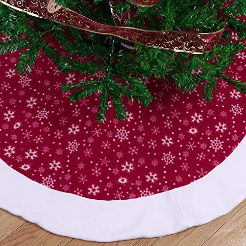 Christmas Tree Skirts 48 inch-Christmas Tree Skirts Velvet-Burgundy Traditional Red and White Snowflakes Christmas Tree Skirt-Christmas Tree Skirt Mat for Christmas Holiday Party Decoration (2) by Sky-Town (Image #2)