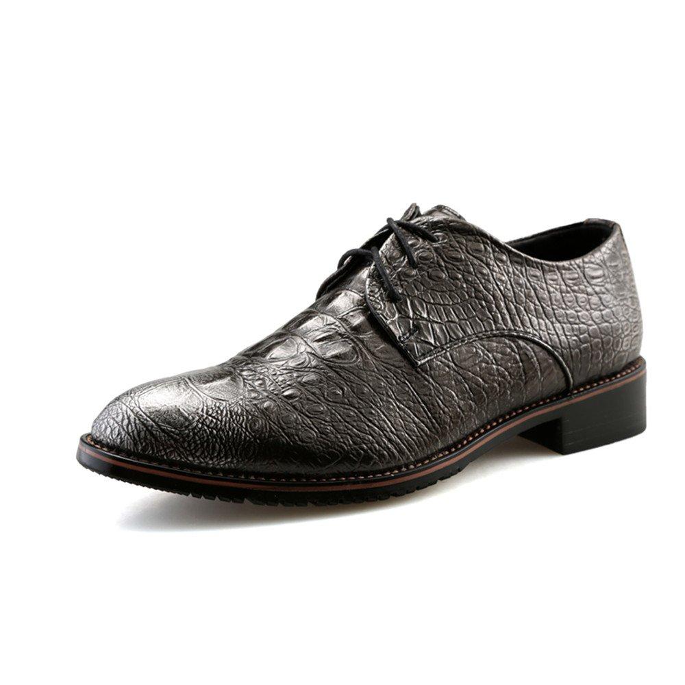 Zapatos Oxford Oxford Casual New Crocodile British Pointy Belt para Hombre 41 EU|Silver