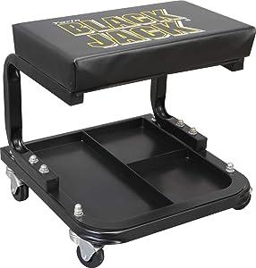 Torin TR6100W Blackjack Rolling Creeper Garage/Shop Seat: Padded Mechanic Stool with Tool Tray Storage, Black