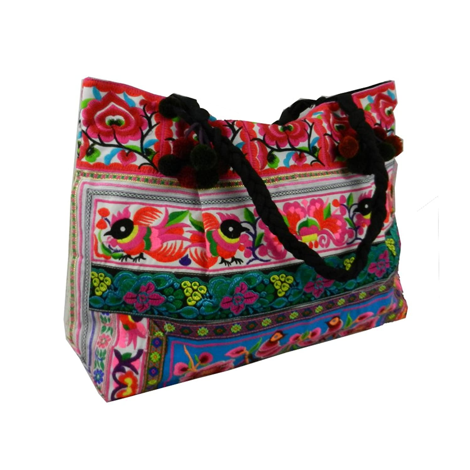 BTP! Hmong Shoulder Bag Hilltribe Large Tote Ethnic Purse Birds Embroidered Fabric Pink Turquoise HMT1