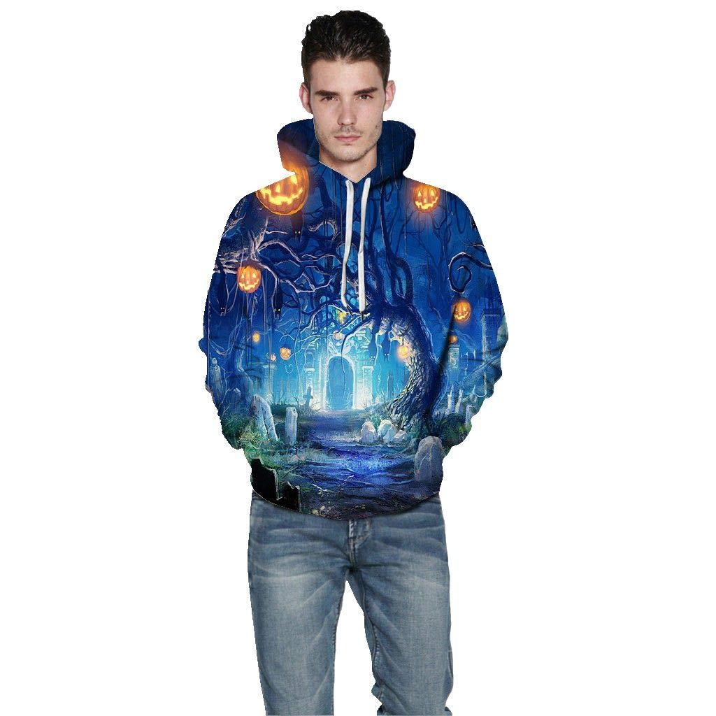 Men's Hoodie Autumn Casual Long Sleeve Pullover Halloween 3D Printed Hooded Sweatshirt with Pocket (US:4, Blue)