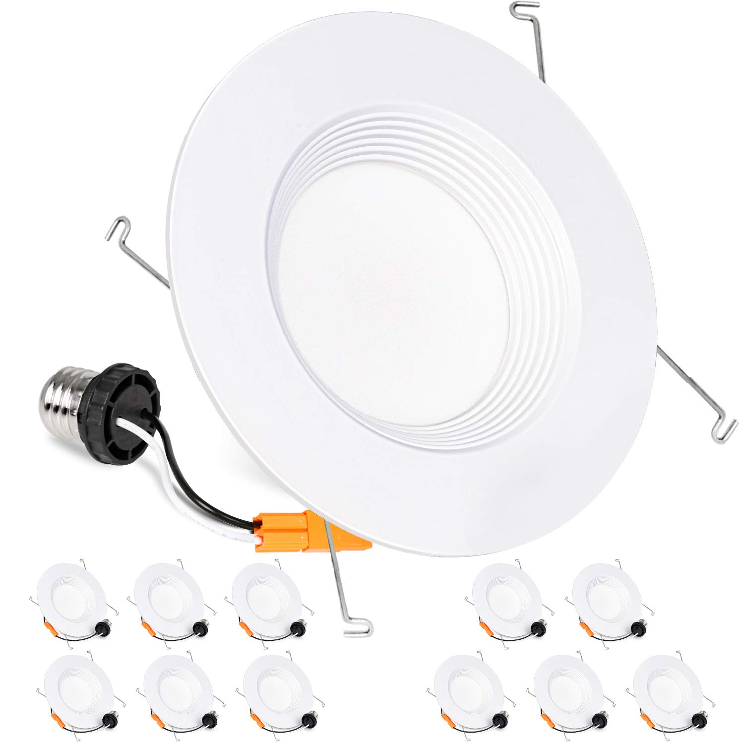 Hykolity 12 Pack 5/6 Inch LED Recessed Downlight Retrofit, 15W LED Can Light Bulb, Baffle Trim, 1000lm 4000K Neutral White LED Recessed Ceiling Light, CRI90, Damp Rated, Dimmable, ETL