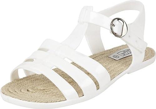 Nuovo Donna Truffle Nero Plastica Colorata Casual Basse Sandali Con Cinghia Scarpe Taglie 3-8 - Bianco, 4 UK