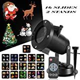 Christmas LED Projector Light, 16 Slides Show Projector with Remote Control Timer and Two Stands for Xmas, Party, Holiday Decoration