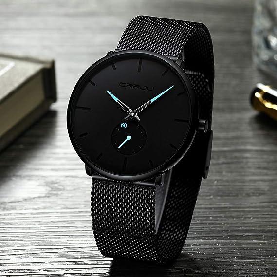 Relojes para Hombre Reloj De Malla Impermeable Minimalista Elegante Banda De Acero Inoxidable Lujo Relojes De Pulsera Hombre Moda Casual Negocio Reloj De ...