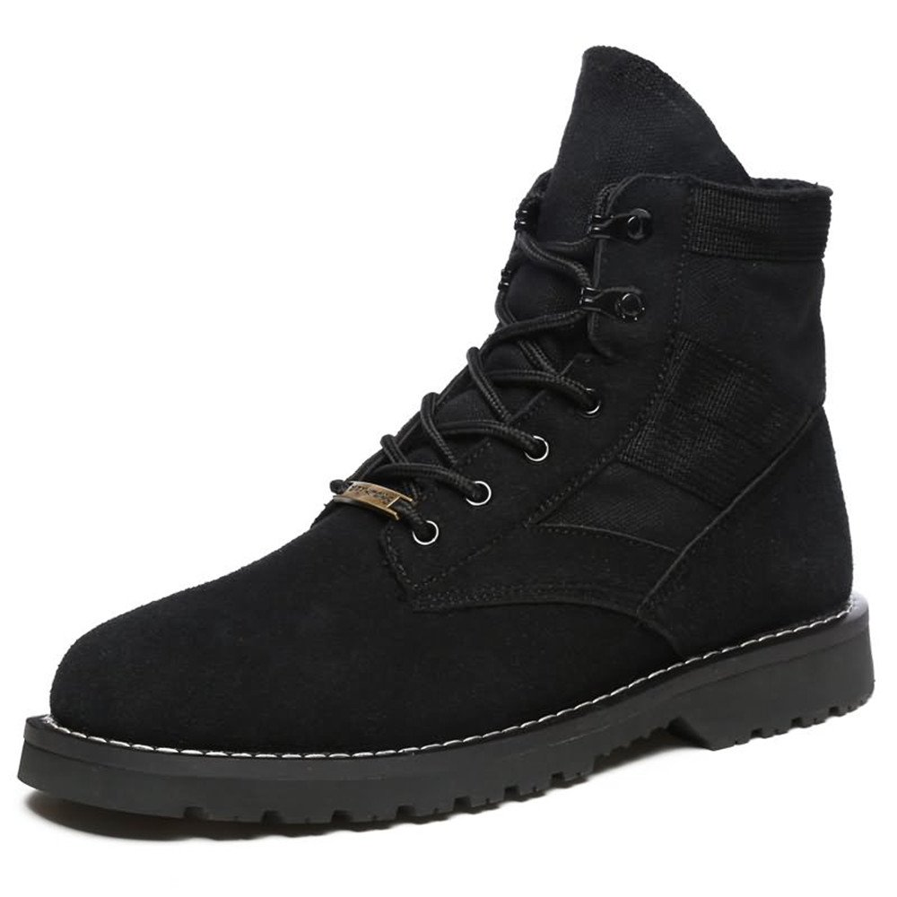 Black shoes Women and Men's Ankle Boots Flat Heel Lace up Splice Vamp Leisure shoes Winter Boots Boots