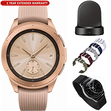 Samsung Galaxy Watch Smartwatch 42mm Stainless Steel Rose Gold (SM-R810NZDAXAR) with Wireless Charging Base Dock, 5pc Nylon Replacement Straps, ...