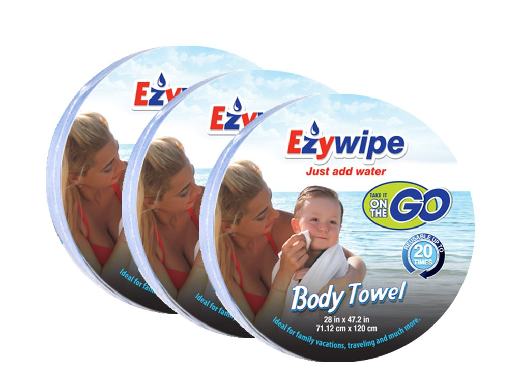 Ezywipe Compressed Body Towel Pack of 3 for Travel Camping Home