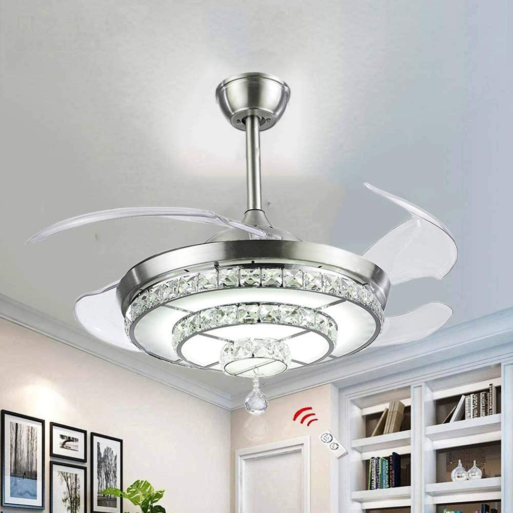 Amazon Com Bigbanban Crystal Ceiling Fan With Lights And Remote 4 Blades Retractable Fans Chandelier Led Indoor Fans Ceiling For Dining Room Bedroom 42 Inch Sliver Kitchen Dining