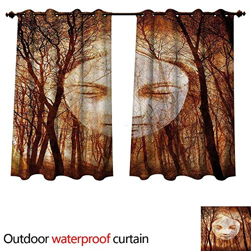 - cobeDecor Quirky Outdoor Curtains for Patio Sheer Girl Face on Misty Forest W63 x L72(160cm x 183cm)