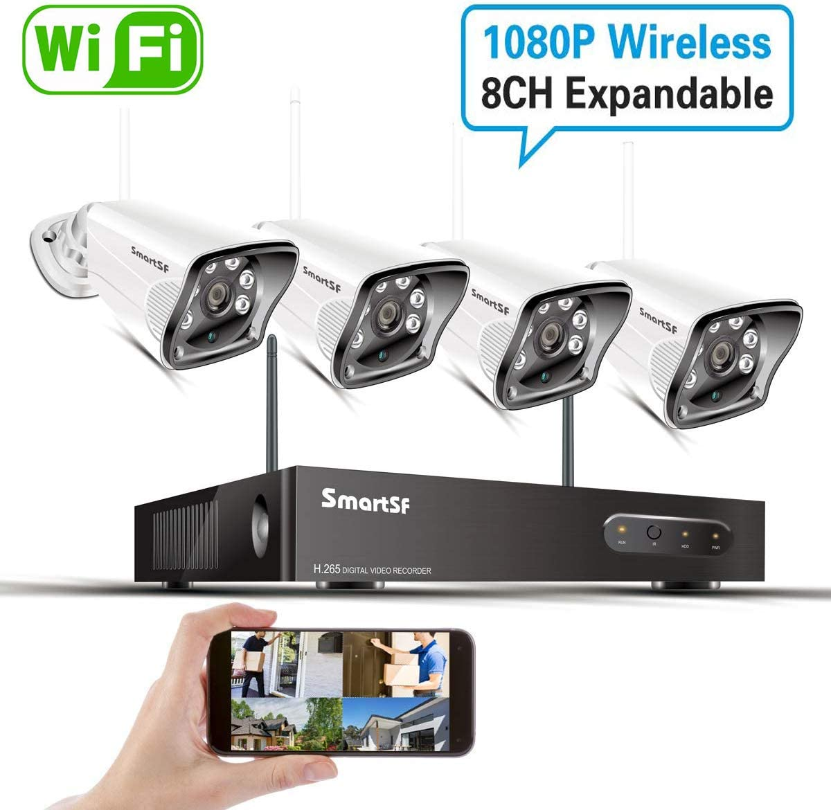 8CH 1080P HD WiFi Security Camera System Wireless,2.0MP CCTV NVR Surveillance System, Night Vision, Weatherproof, Motion Detection, Remote Monitoring