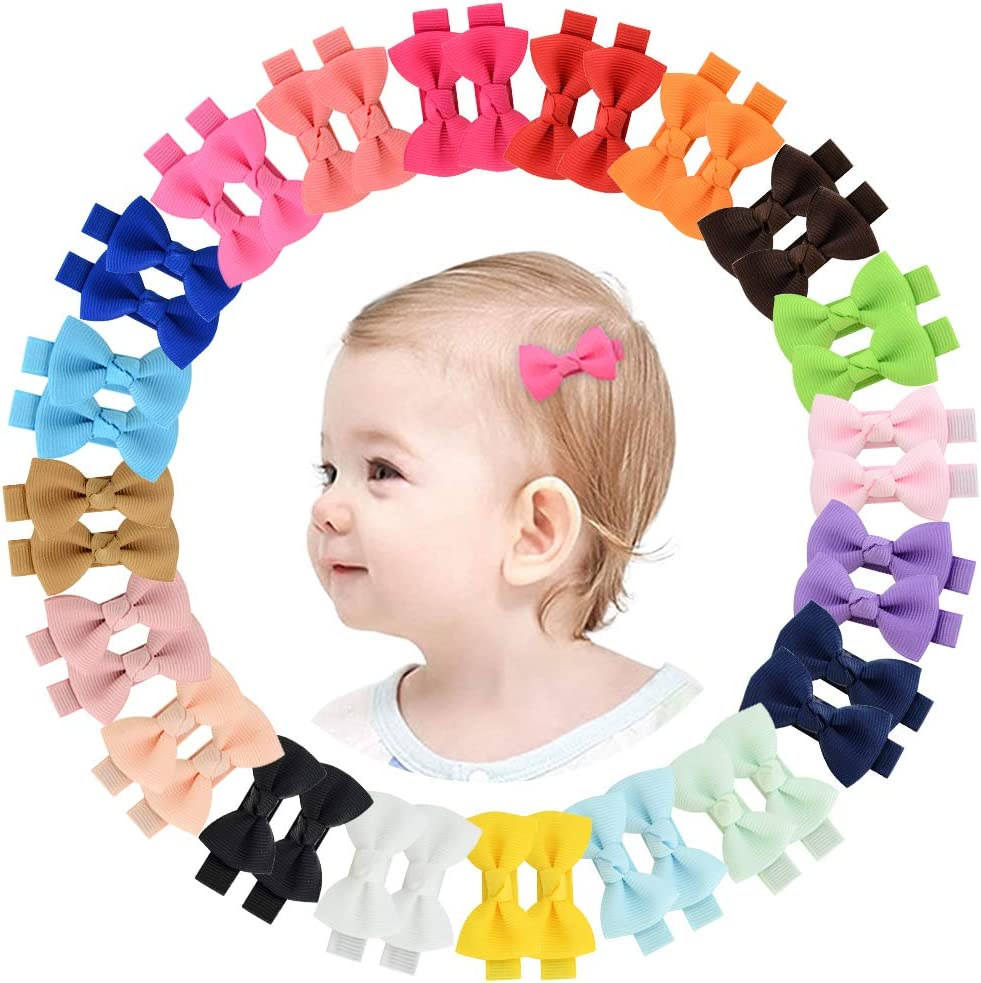JOYOYO 50 Pcs Boutique Tiny Baby Hair Bows Grosgrain Ribbon Full Lined Alligator Clips Hair Accessories for Baby Girls Toddlers
