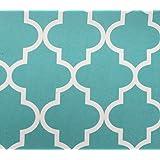 "Indoor/Outdoor Waterproof Moroccan Mosaic Canvas Fabric AQUA UV Resistant 60"" Wide Sold by the yard"
