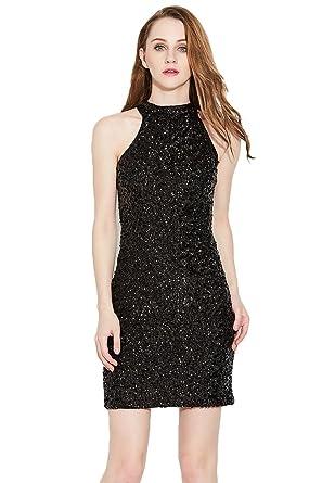 2d81250f2d0 NiSeng Women's Sleeveless Sparkling Sequin Tank Dress Mini Sparkle Dress  Cocktail Dress