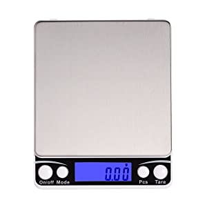Corlfe 500g x 0.01g Digital Pocket Scales 0.001oz (0.01g) High Precision Jewellery Scale Weed Scales Kitchen Scales with Stainless Steel Platform Back-Lit Display (2 Trays Included)