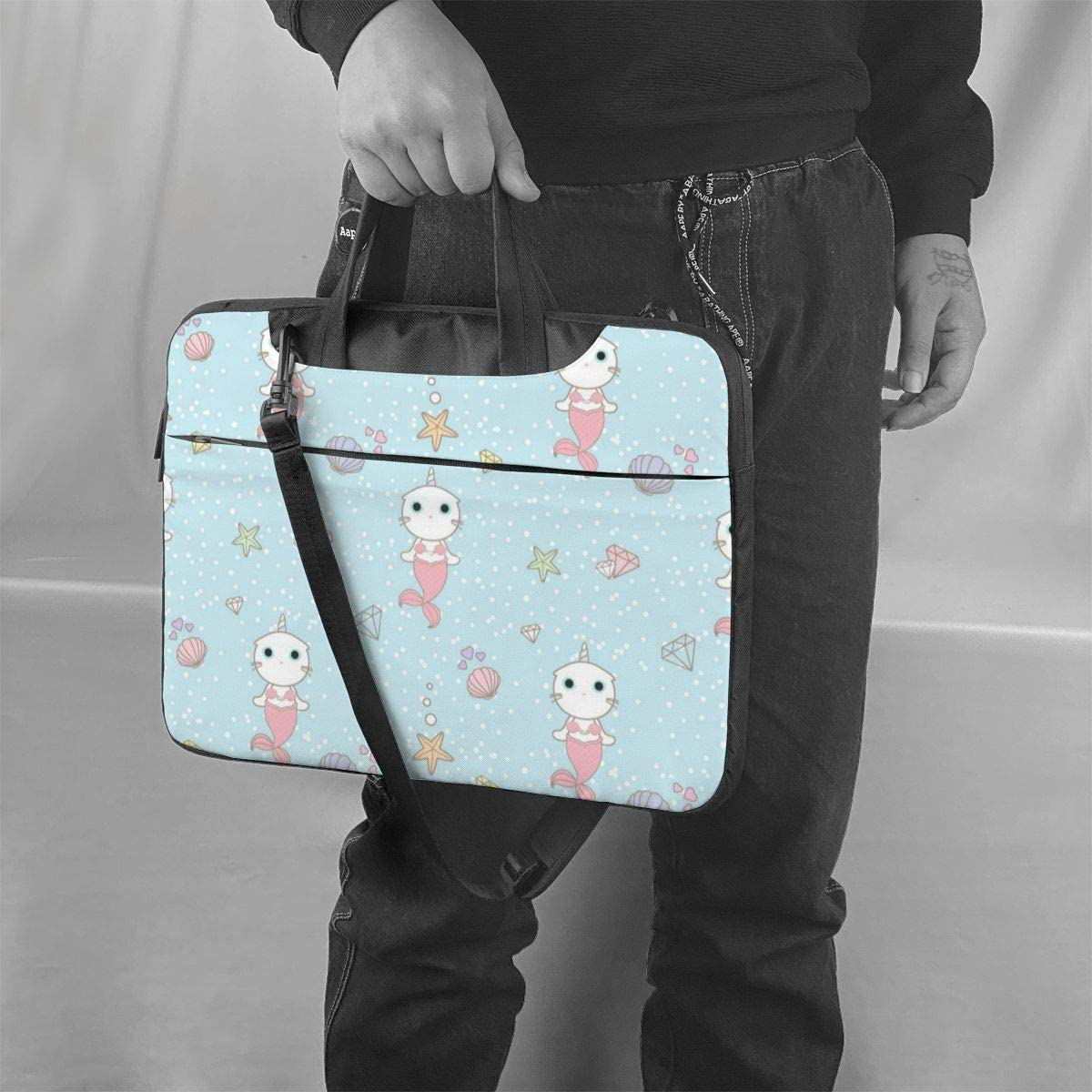 Cute Cat Unicorn Mermaid Laptop Case 15.6 Inch Computer Carrying Protective Case with Strap Bag