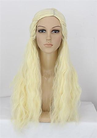 "OKEH años 24"" largo rizado ondulado rubia mujeres naturales peluca sintética para Daenerys Targaryen khaleesi"