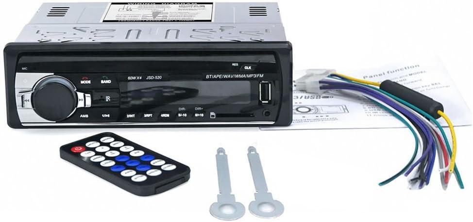 Nrpfell Receptor de Entrada Auxiliar FM Radio Estereo autoradio Bluetooth USB JSD-520 12V En el Tablero 1 DIN Reproductor de MP3 de Coche