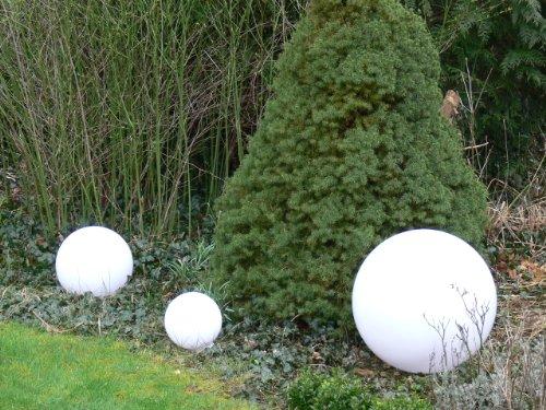 Sonderangebot des Monats: Hochwertige Außenleuchte Kugelleuchte Marlon 3er Set (20+30+40cm) Gartenleuchte Kugellampe mit Erdspieß, E27, Gartenlampe, Kugellampe