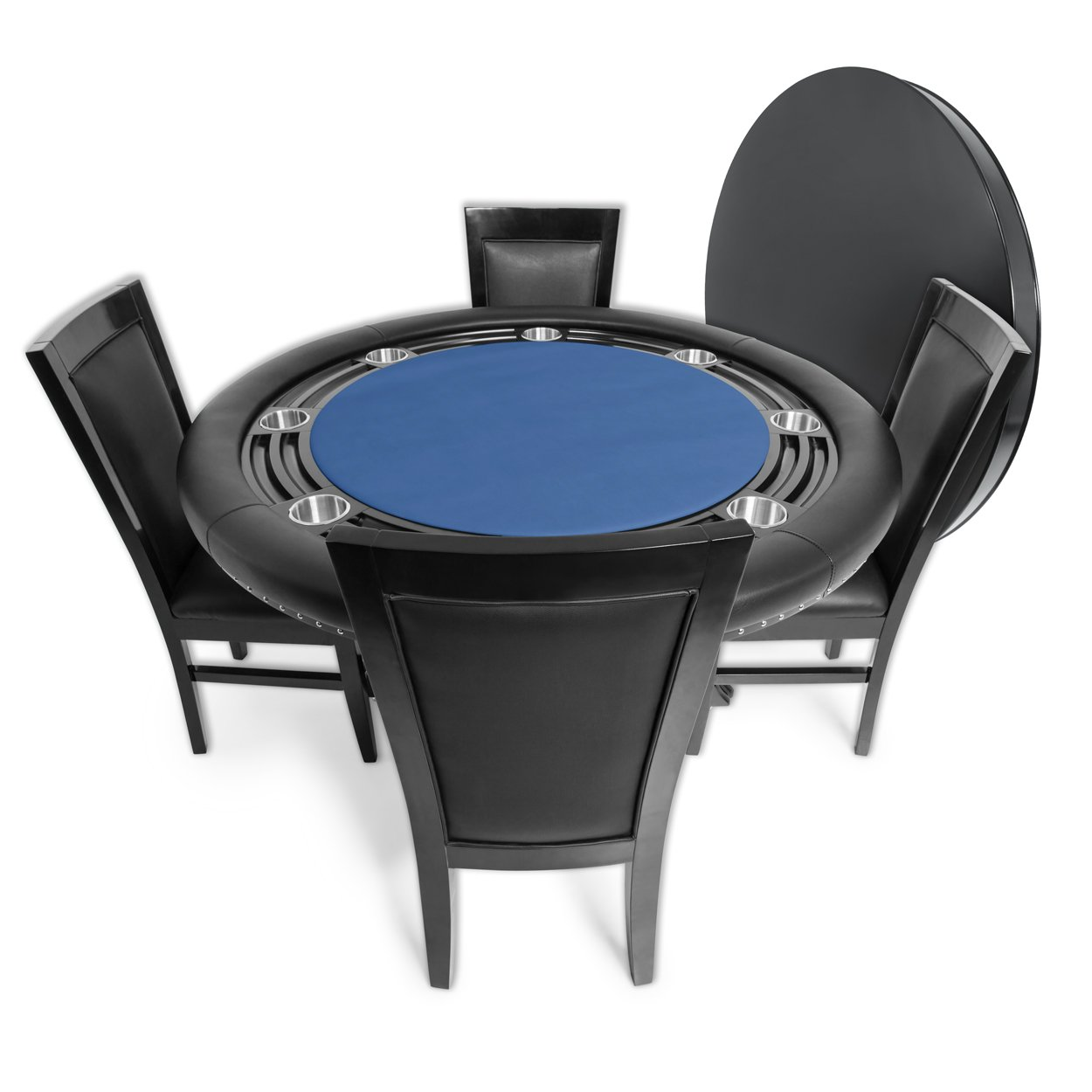 BBO Poker Nighthawk Poker Table for 8 Players with Blue Felt Playing Surface, 55-Inch Round, Includes Matching Dining Top with 4 Dining Chairs by BBO Poker