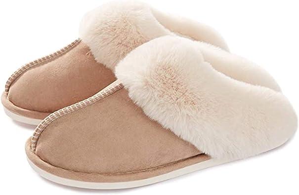 Women Plush House Slippers Ladies Non Slip Indoor Winter Warm Bedroom Shoes