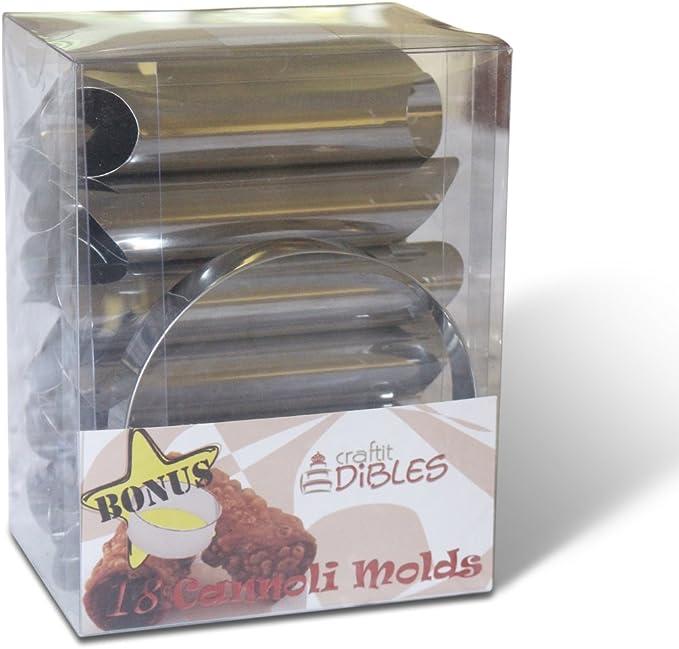 Moules de P/âtisserie avec un Emporte-pi/èce Rond de Biscuit de 11.5cm GRATUIT par CiE Ensemble de Cannoli Tubes 18 Moules de Coquilles de Cannoli