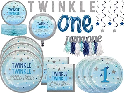 Boys 1st Birthday Twinkle Twinkle Little Star Tableware And Decoration Kit For 24