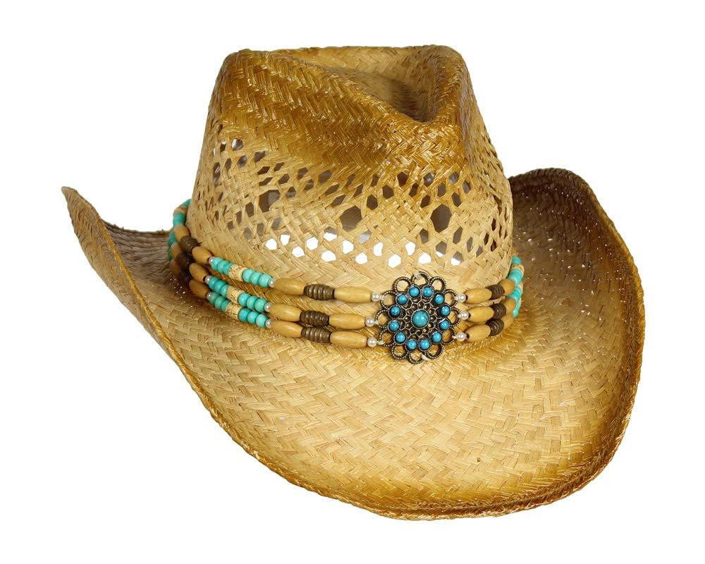 Folie Co. Handwoven Raffia Straw Cowboy Hat w/Teal Blue Beaded Band – Beach Cowgirl