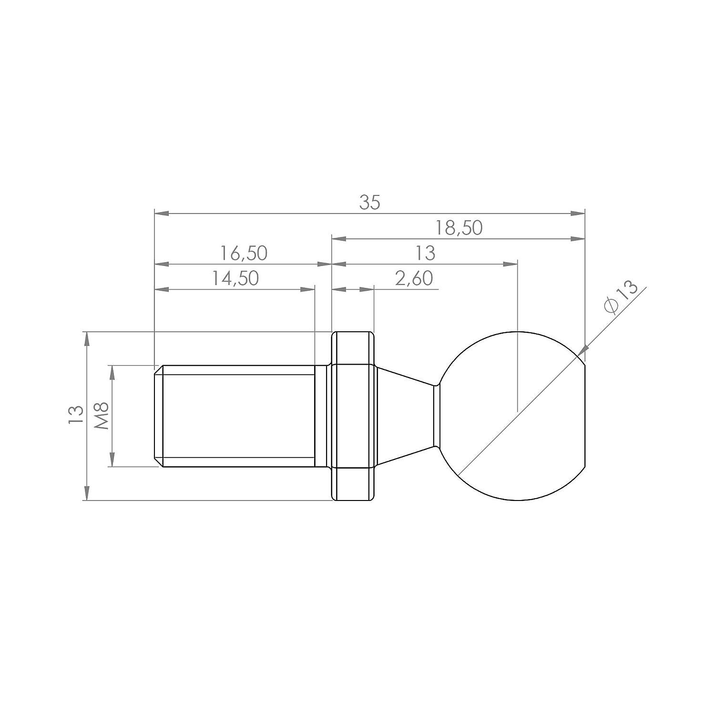 SOLIDfy 4 x Kugelzapfen C10 M6 DIN 71803 Form C mit Gewindezapfen verzinkt 10mm