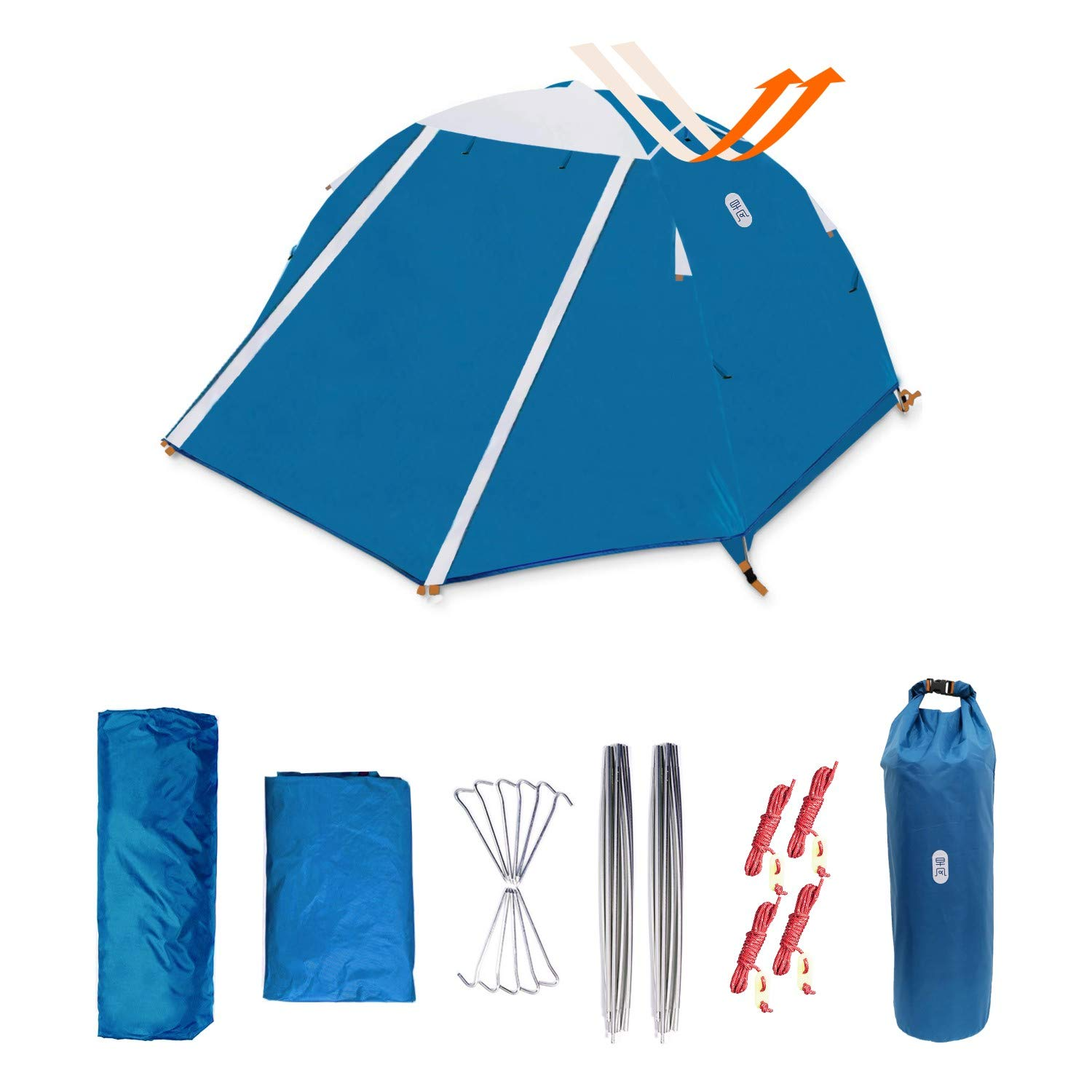 Zenph Backpacking Tent, 2 Person Ultralight Waterproof Camping Tent, Two Doors Easy Setup 4 Season Tent for Outdoor, Hiking Mountaineering