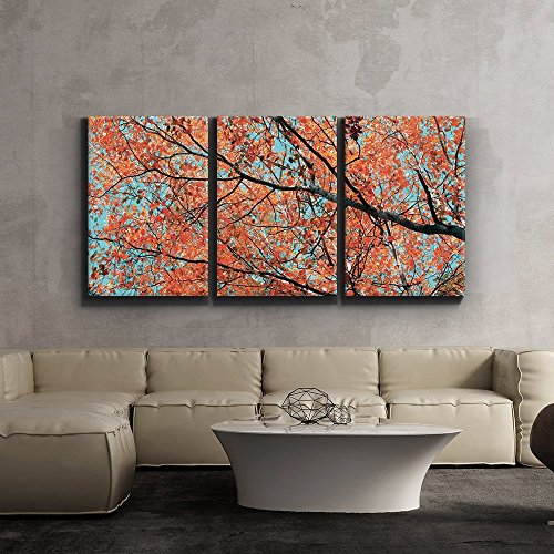 Print Contemporary Art Wall Decor Orange Leaves on Tree Branches Artwork Wood Stretcher Bars x3 Panels