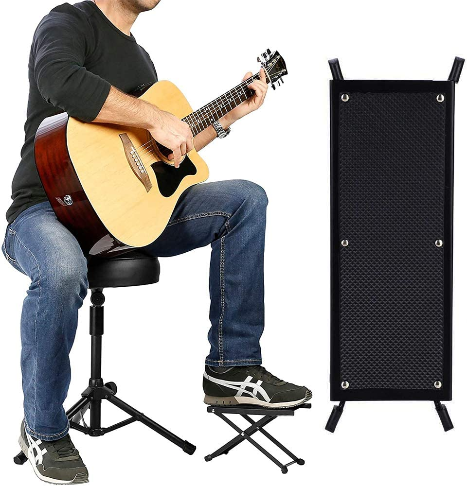 Reposapi/és para guitarra,Reposapi/és de Guitarra Ajustable Reposapi/és de guitarra con almohadilla de goma antideslizante para Cl/ásica//Ac/ústica guitarristas