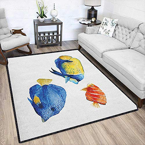 - Fish Modern Abstract Area Rug,Tropical Aquarium Life Discus Fish and Goldfish in Different Patterns Easy Clean Stain Resistant Azure Blue Yellow Scarlet 67