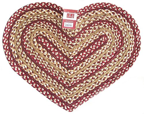 IHF HOME DECOR Braided Heart Shaped Area Rug New CHECKERBERRY DESIGN Jute Fabric - 20 Inch X 30 Inch
