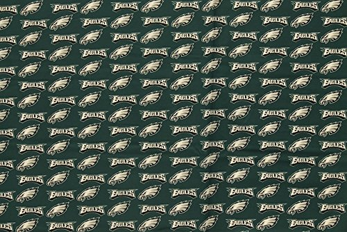 Philadelphia Eagles Football Green Sheeting Fabric Cotton 5 Oz 58-60
