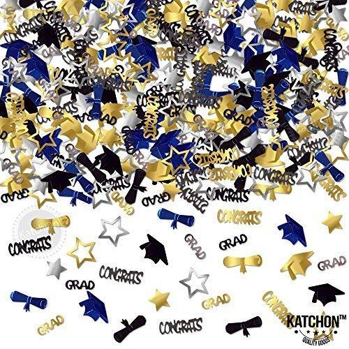(CONFETTI FOR GRADUATION PARTY SUPPLIES - 1.4 oz | Perfect Graduation Decoration for Grad Party | Graduation Confetti are of CONGRATS, GRAD, STAR, CAP, DIPLOMA | Gold, Black, Silver and)