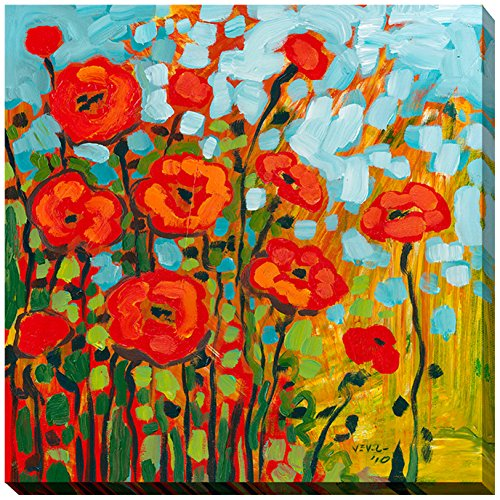 Picture Perfect International Giclee Stretched Wall Art by Jennifer Lommers Red Poppies I Artists-Canvas, 28″ x 28″ x 1.5″