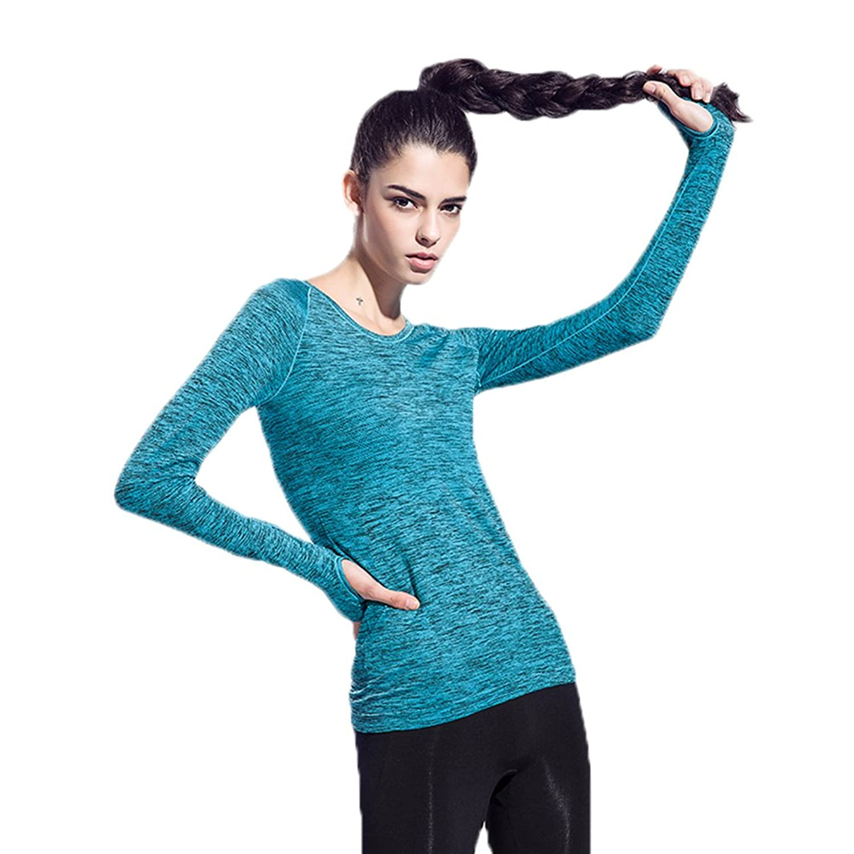 Women's Long Sleeve Stretchy Workout Yoga Run Sports Skin SweatShirt Fast Dry