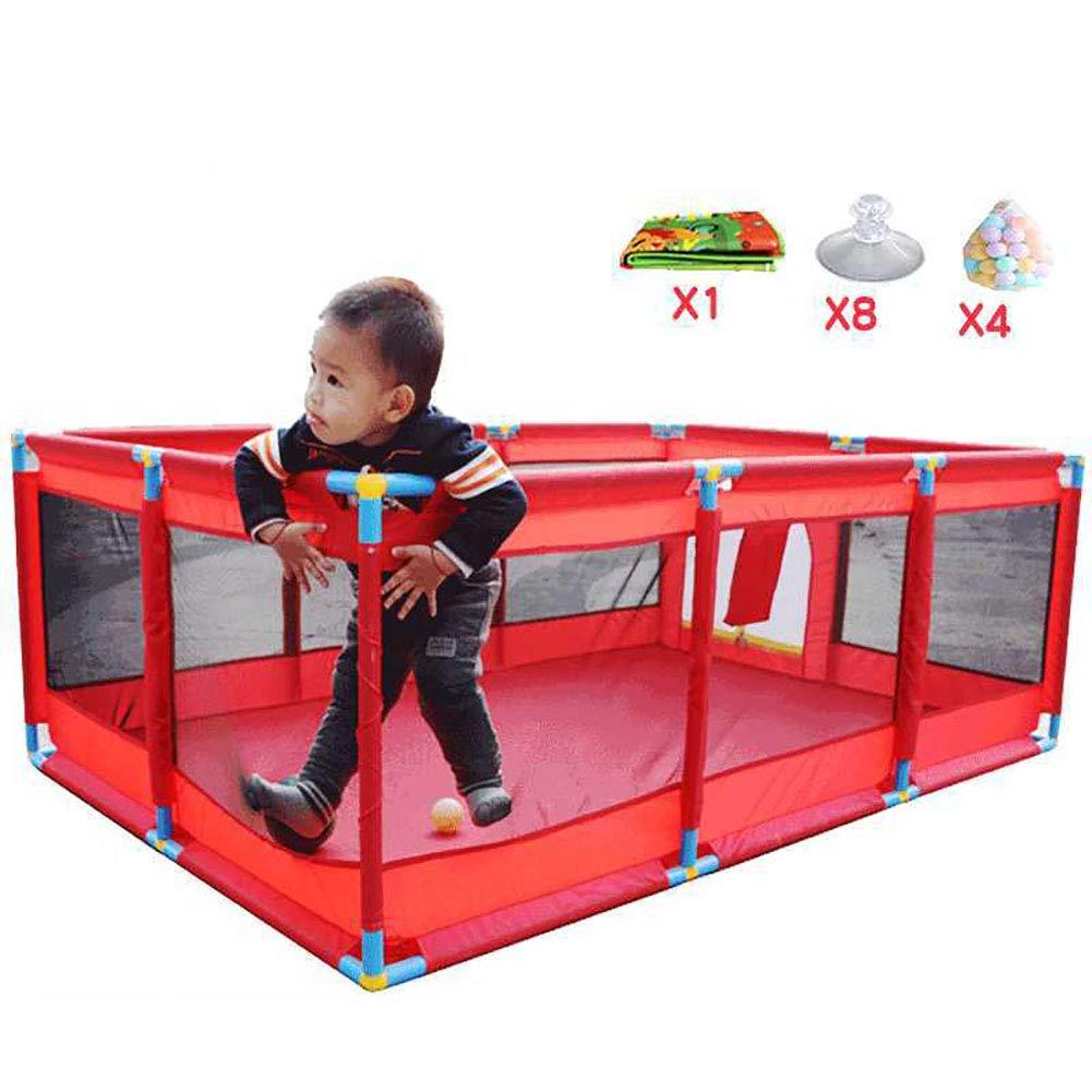 赤ちゃんの囲い 赤ちゃんの遊び場ボール付きポータブルゲームヤード、屋内幼児アクティビティセンター安全で屋外の子供用プレイグラウンド、赤   B07K5VFQBZ