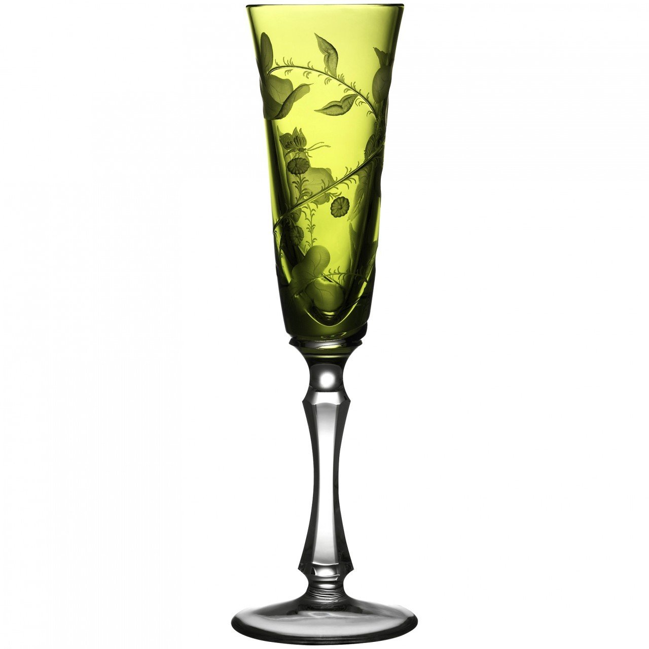 Rainforest Yellow-Green Crystal Champagne Flute by Varga (Set of 2)