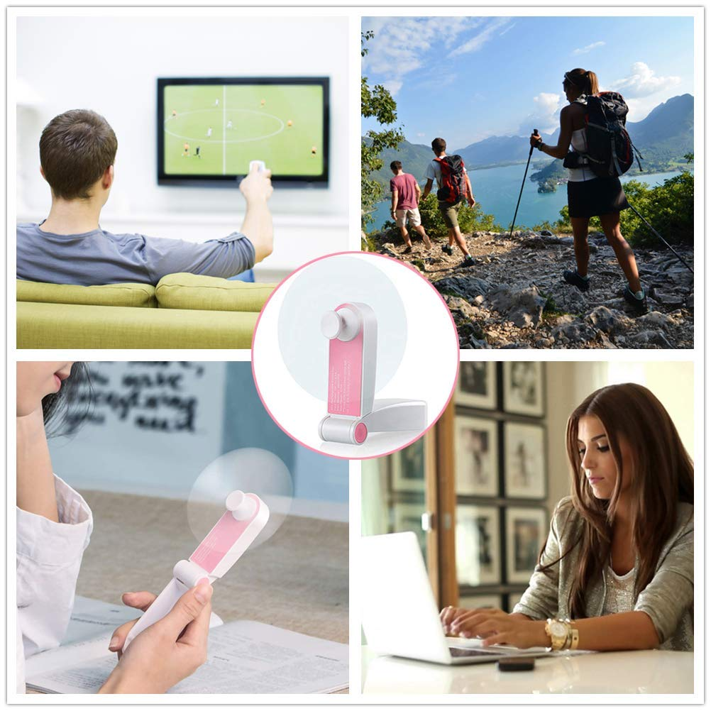 Flysea Mini Handheld Fan, Small Personal Portable Pocket Fan Adjustable Micro USB Rechargeable Fan for Camping Purse Travel Office Outdoor Household Hiking Picnic, 2 Modes Strong Wind Pink