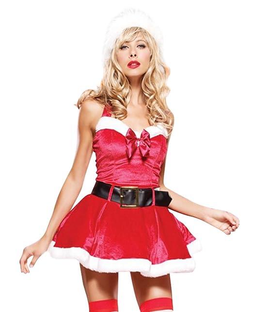 Anguang Donna Natale Babbo Claus Costume Completo da uomo Cosplay Fantasia Vestito  Costume con Cintura Come Immagine  Amazon.it  Abbigliamento dba69688e9b