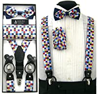 Navy Blue with Colorful Squares Convertible Suspenders Pre-tied Bow Tie & Hanky Set