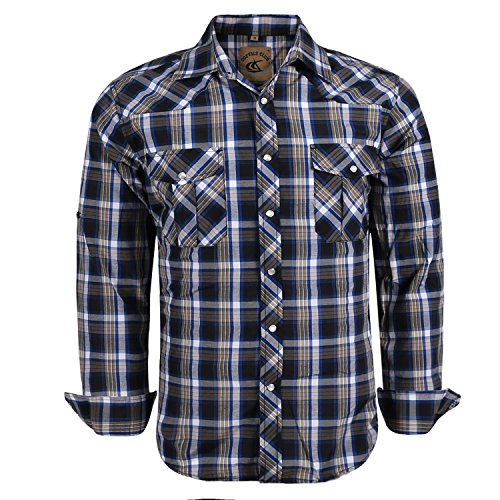 Coevals Club Men's Snap Button Down Relaxed Fit Plaid Long Sleeve Work Casual Shirt