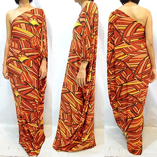 New Women's Brown Black Yellow Print Long One Shoulder Maxi Dress 2X 3X 4X 16 18 20 22